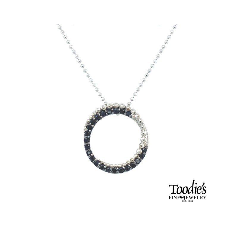 Black Sapphire Circle Necklace