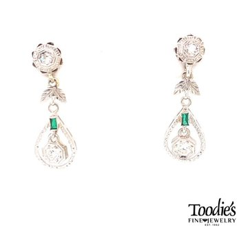 Adam's Favorite Art Deco Diamond and Emerald Drop Earrings