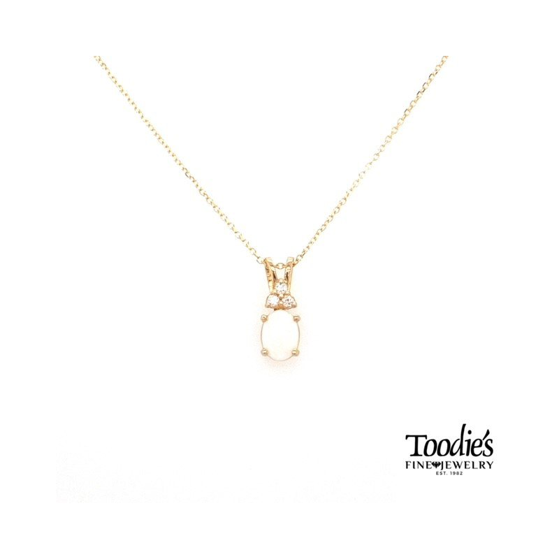 Toodie's Signature Fashion Yellow Gold Opal And Diamond Necklace
