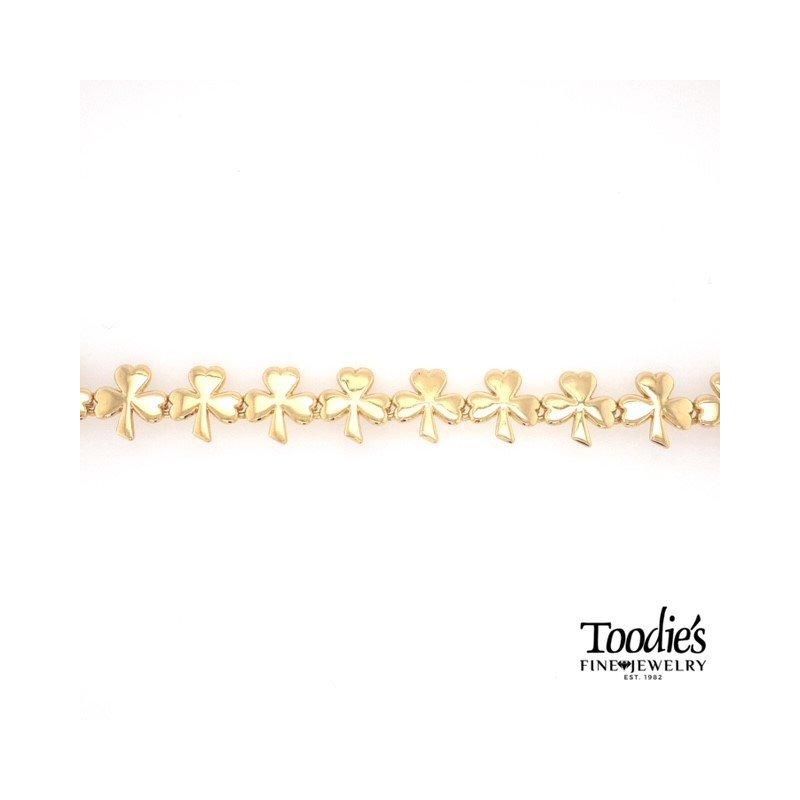Toodie's Signature Fashion Yellow Gold Shamrock Bracelet