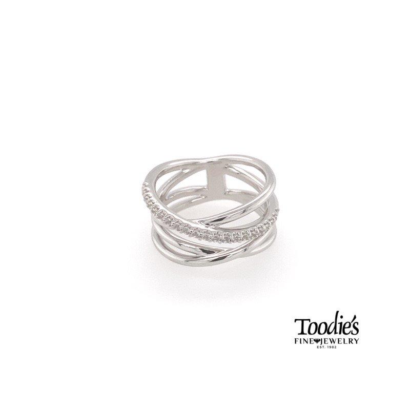 Gabriel Fashion White Sapphire Criss-Cross Ring