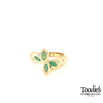 Marquise Flower Emerald And Diamond Ring