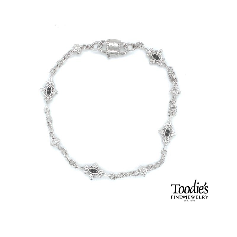 Gabriel Fashion Filigree Style Black Spinel Bracelet
