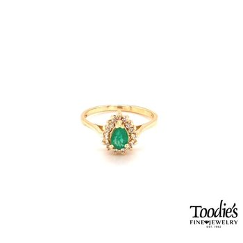 Pear Emerald and Diamond Cocktail Collection Halo Ring