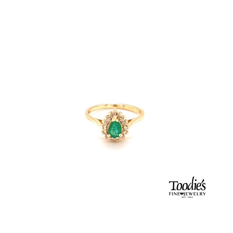 Toodie's Signature Fashion Pear Emerald and Diamond Cocktail Collection Halo Ring