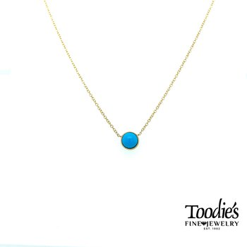 Gold Turquoise Solitaire Necklace