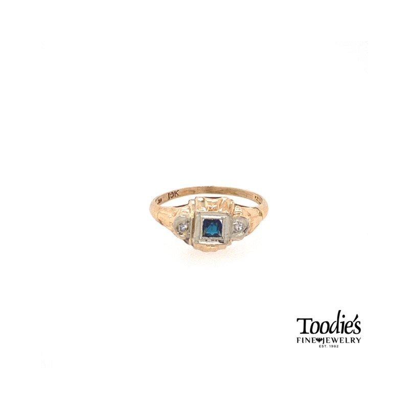 Toodie's Signature Fashion Art Deco Sapphire and Diamond Ring