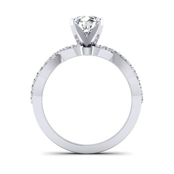 Ribbon Style Diamond Design Engagement Ring