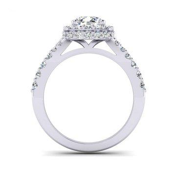 Graduated Cushion Shaped Halo Engagement Ring