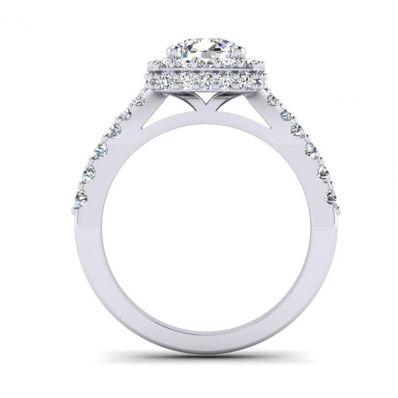 Toodie's Bridal Graduated Cushion Shaped Halo Engagement Ring