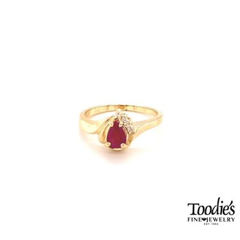 Pear Ruby and Diamond Cocktail Ring
