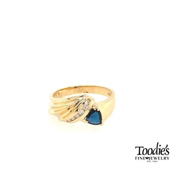 Trillion Dark Blue Sapphire And Diamond Ring