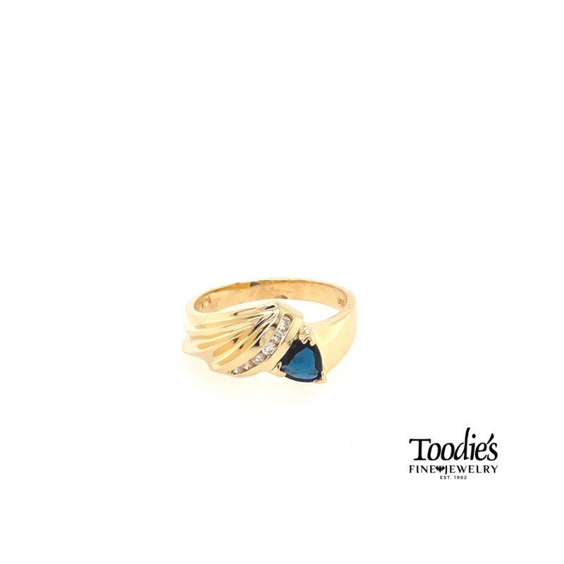 Toodie's Signature Fashion Trillion Dark Blue Sapphire And Diamond Ring