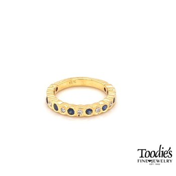 Celestial Blue Sapphire and Diamond Bezel Set Band