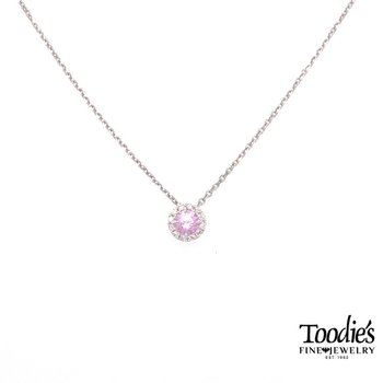 White Gold Pink Quartz And Diamond Necklace
