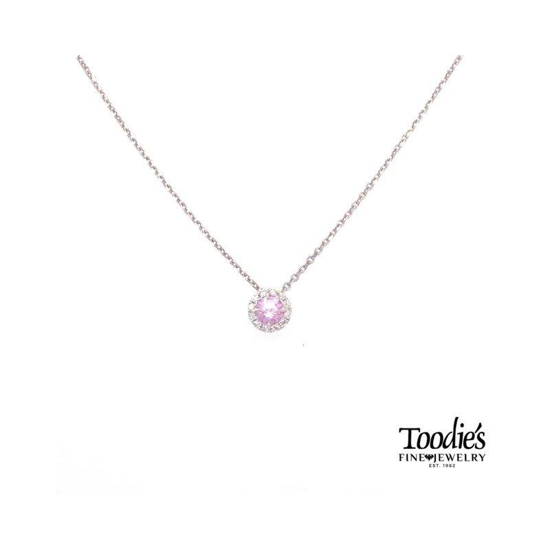 Toodie's Signature Fashion White Gold Pink Quartz And Diamond Necklace