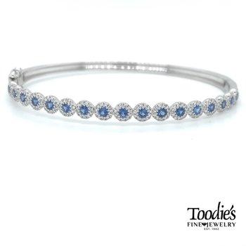 Sapphire And Diamond Halo Bangle Bracelet