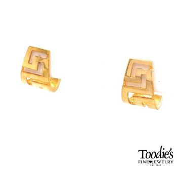 Greek Key Design Huggie Earrings