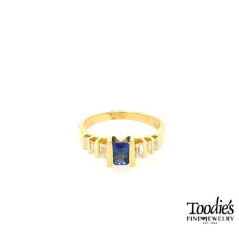 Blue Sapphire and Diamond Contemporary Ring