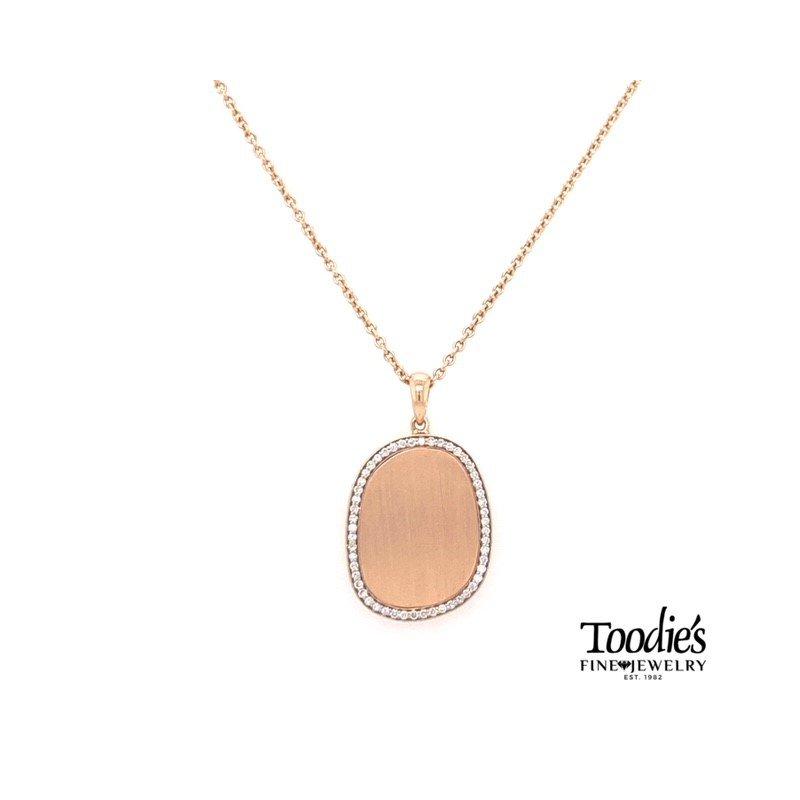 Toodie's Signature Fashion Funky Satin Rose Gold Diamond Pendant