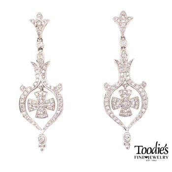 Diamond Maltese Style Cross Earrings