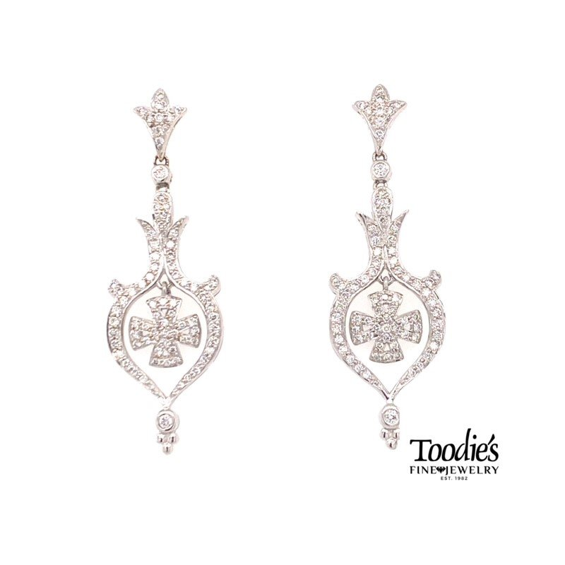 Toodie's Signature Fashion Diamond Maltese Style Cross Earrings