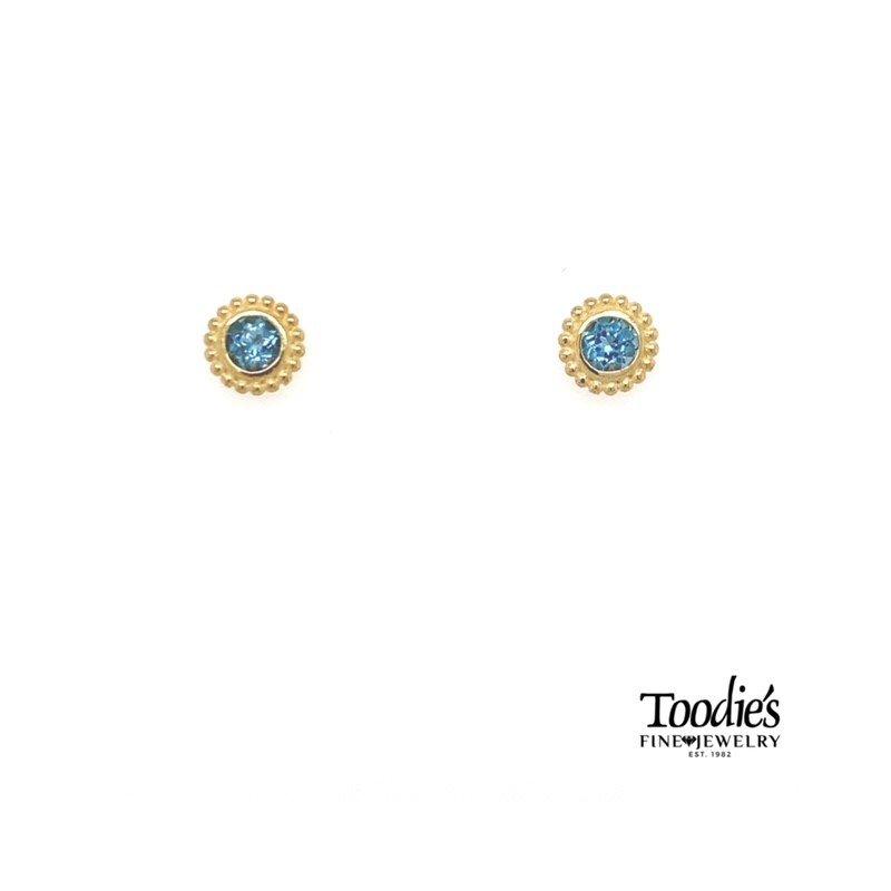 Phillip Gavriel Popcorn Bezel Blue Topaz Earrings