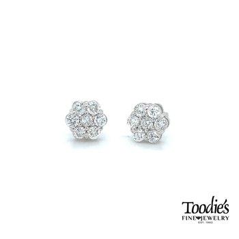Diamond Cluster Flower Studded Earrings