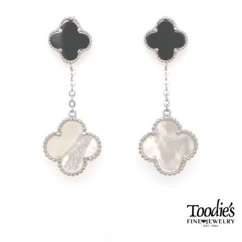 Designer Inspired Silver Onyx & Mother of Pearl Clover Drop Earrings