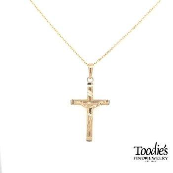 Gold Beaded Design Crucifix Cross Necklace