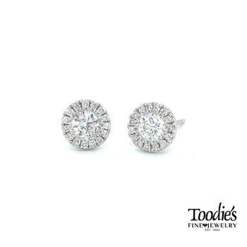Stunning Halo Diamond Stud Earrings