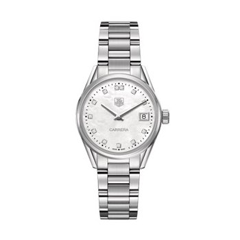 Ladies Carrera Mid-size White Mother of Pearl Diamond Dial