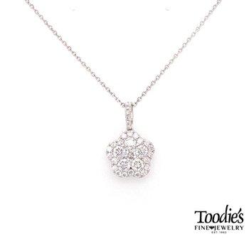 Diamond Design Floral Cluster Pendant