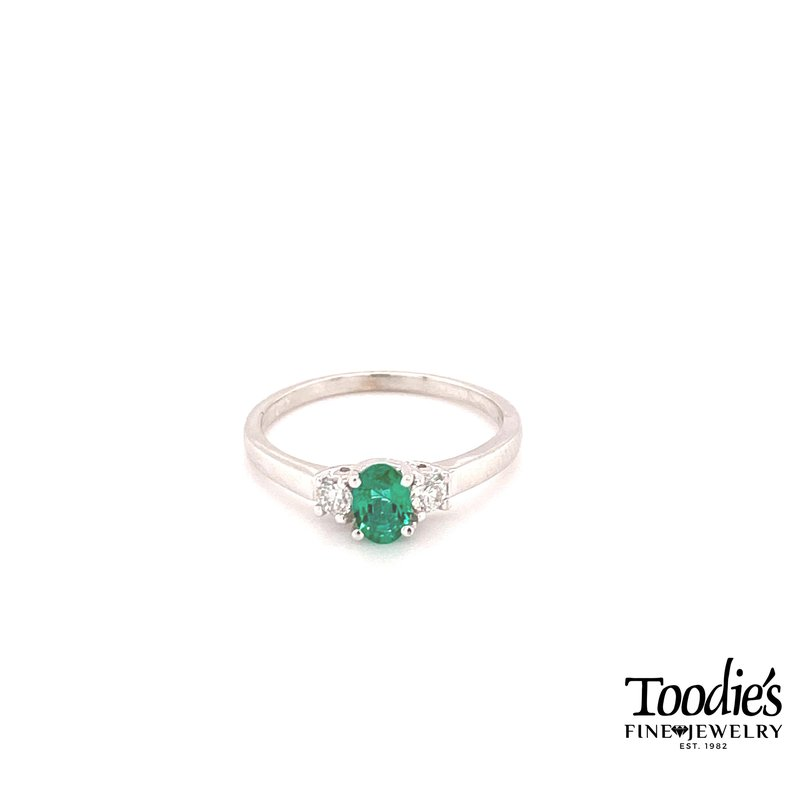 Toodie's Signature Fashion Emerald And Diamond Three Stone Ring