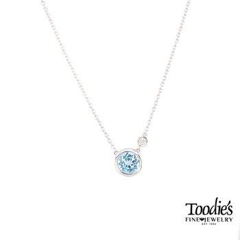 Blue Topaz and Diamond Bezel Necklace