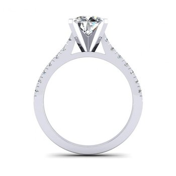 Classic Straight Diamond Design Engagement Ring