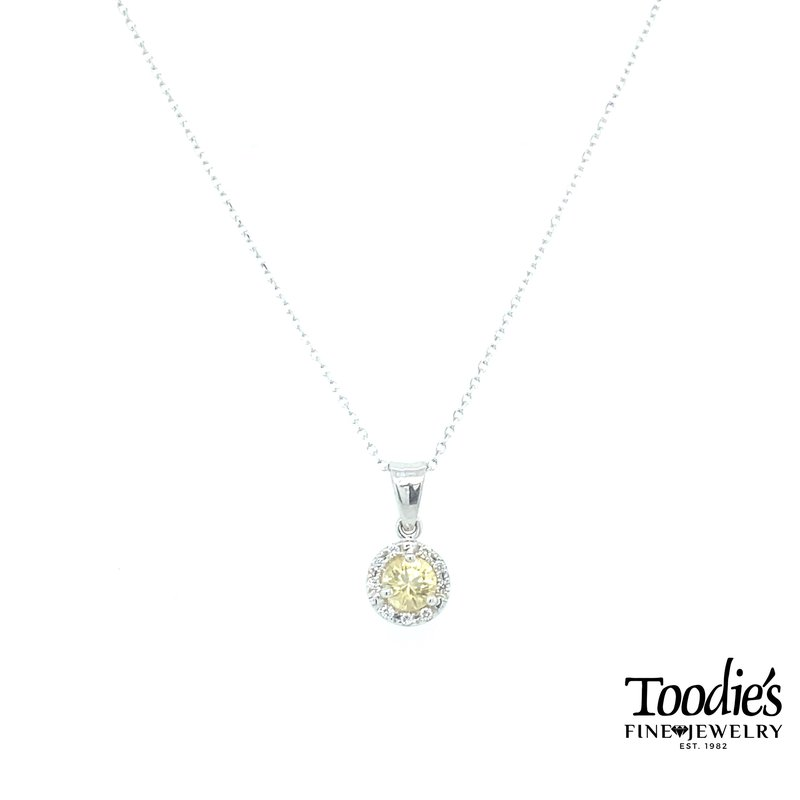 Toodie's Signature Fashion Pastel Yellow Sapphire and Diamond Halo Pendant