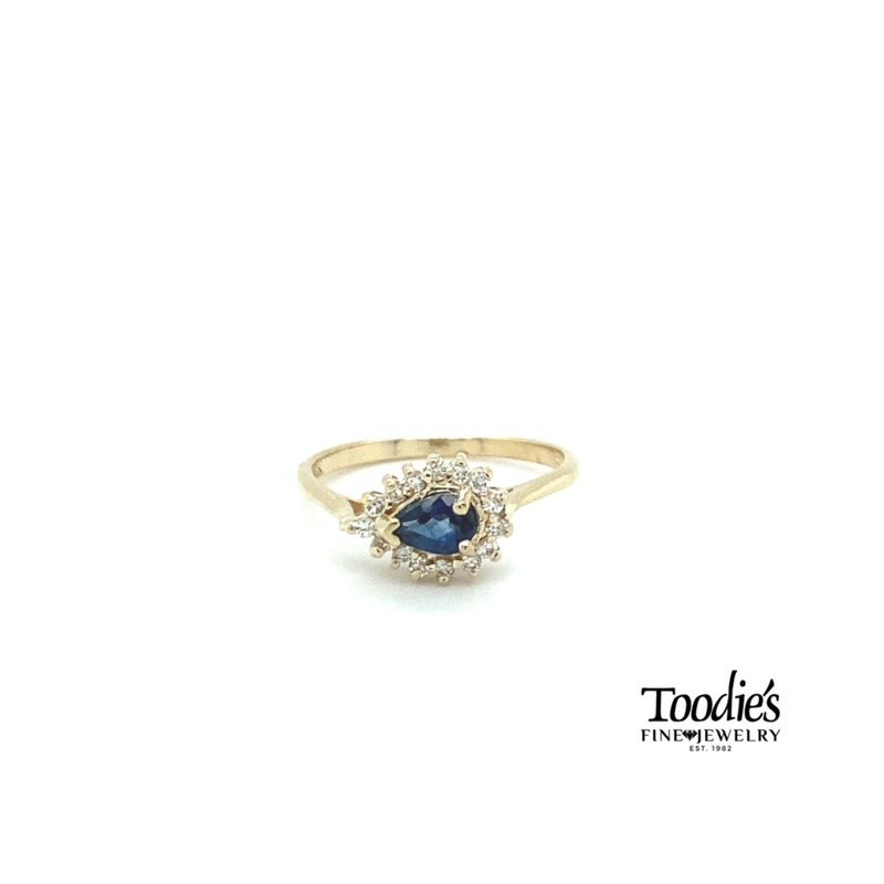 Toodie's Signature Fashion East to West Pear Sapphire and Diamond Cocktail Collection Halo Ring