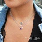 Gabriel Fashion Amethyst Bezel Necklace