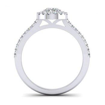 Oval Shaped Diamond Halo Design Engagement Ring