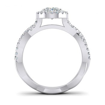 Twisted Oval Halo Design Engagement Ring