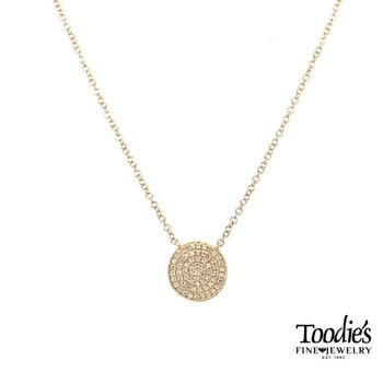 Gold Pave Style Round Disc Pendant