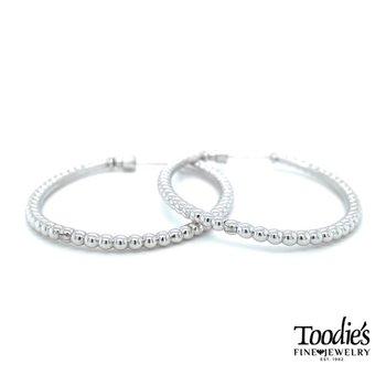 Oval Beaded Hoop Earrings