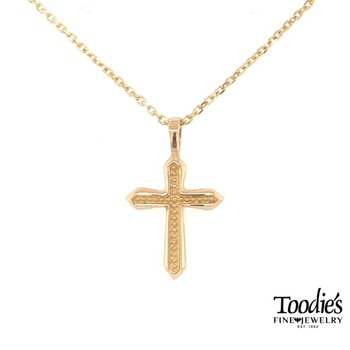 Gold Beaded Design Cross Necklace