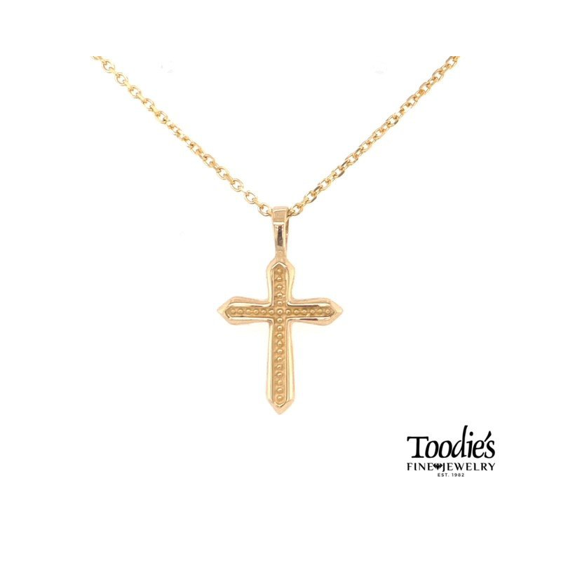 Toodie's Signature Fashion Gold Beaded Design Cross Necklace