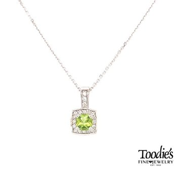 White Gold Peridot And Diamond Necklace