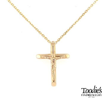 Gold Rounded Crucifix Necklace