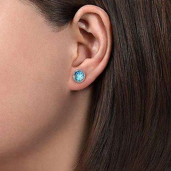 Blue Topaz Studded Earrings