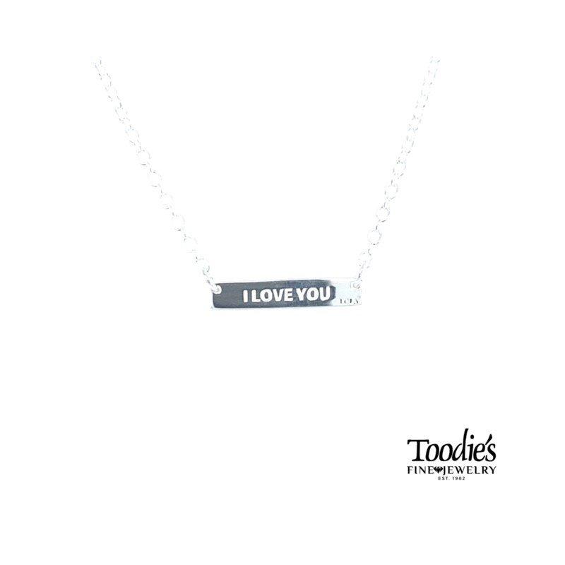 Lola & Company Lola I Love You Bar Necklace