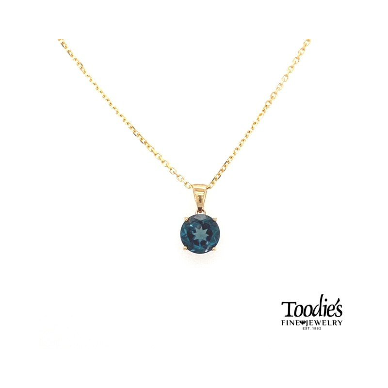 Toodie's Signature Fashion Yellow Gold Blue Topaz Necklace